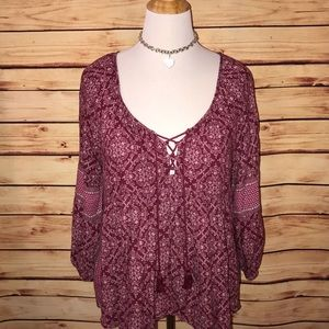 AEO Burgundy BOHO Peasant Style Lace Up Blouse